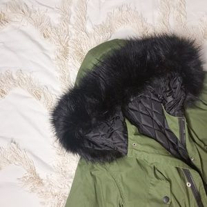 Army Green Fur Hooded Winter Utility Jacket💕💕